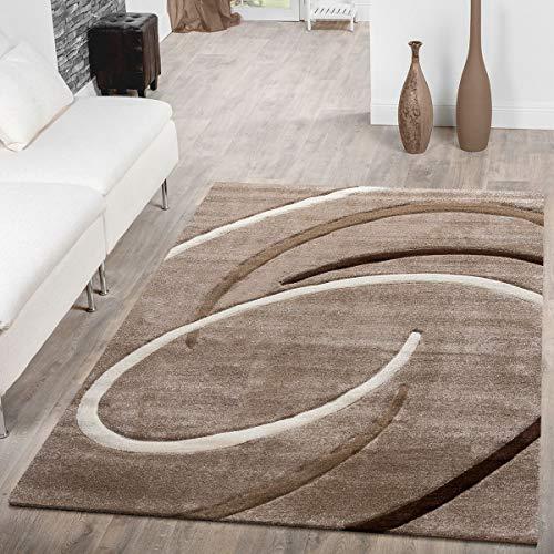 Alfombra para salon, pelo corto, diseno moderno con espirales, color beis y marron moca, 160 x 230 cm