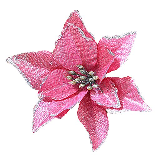 rescozy 8Pcs Glitter Artificial Christmas Flowers Christmas Tree Wreaths Wedding Ornaments, 5-Inch, Pink (Pink Glitter Flower)