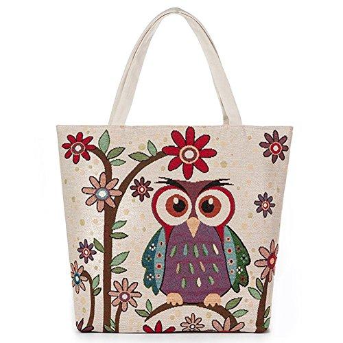 ParaCity Travel Tote Bag Canvas Shoulder Bag Handbag Chinese Embroidery Totem Pattern Casual Shopping Tote Bag Beach Satchel Owl