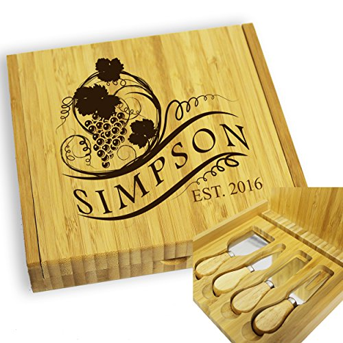 Personalized Engraved Cheese Board Tray and Knife Tools Set - Custom Monogrammed for Free by My Personal Memories