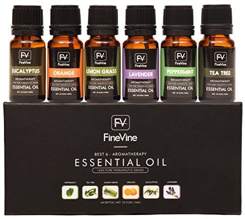 Aromatherapy Top 6 Essential Oils Gift Set - 100% Pure Premium Therapeutic Grade - Lavender, Tea Tree, Eucalyptus, Lemongrass, Orange, Peppermint ()