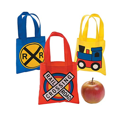 Fun Express - Mini Train Party Tote Bags for Birthday - Apparel Accessories - Totes - Novelty Totes - Birthday - 12 Pieces