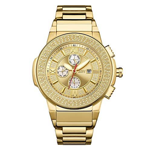 18k Diamond Wrist Watch - JBW Men's JB-6101-D Saxon 18k Gold-Plated Diamond-Accented Watch