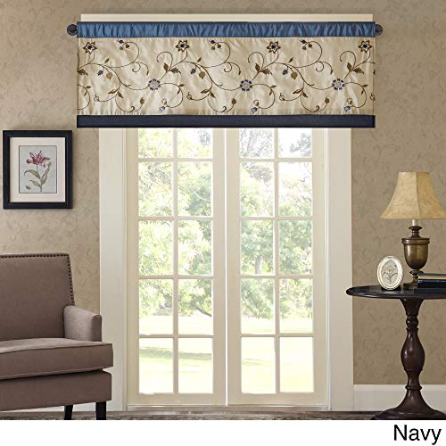 - 50 Inch Navy Beige Floral Embroidered Window Valance Single Panel, Blue Vine Pattern Window Treatment 1 Piece Pleated Striped Flower Leaf Swirl Pieced Border Lined Elegant Look Rod Pocket, Polyester