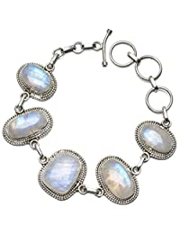 "StarGems(tm) Natural Rainbow Moonstone Unique Punk Style 925 Sterling Silver Bracelet 6 3/4-7 3/4"""