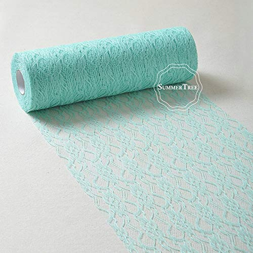 - Laliva 12inch x 25yards Lace Roll Ribbon Netting Fabric Wedding Party Chair Sash Table Runner Handmade DIY Cratf Decor - (Color: Mint Green)