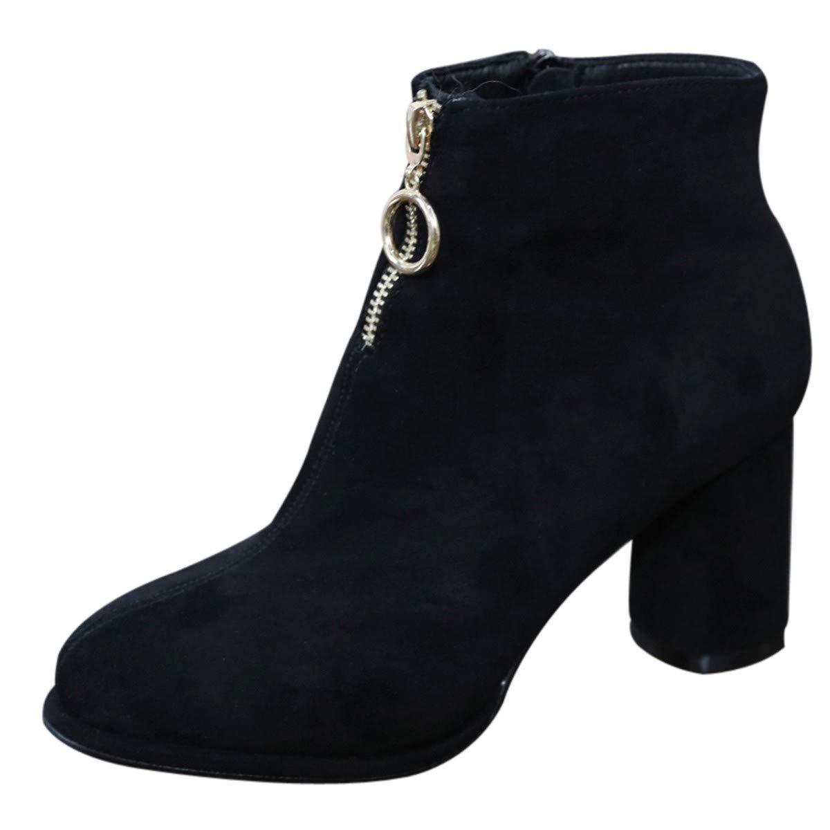 LBTSQ-Wasserdichte Plattform Kurze Stiefel Mode Runden Kopf Und Ohne Stiefel Harte Sohle Reißverschluss 7Cm Ring Hochhackigen Schuhe Alle Arten Von Joker.