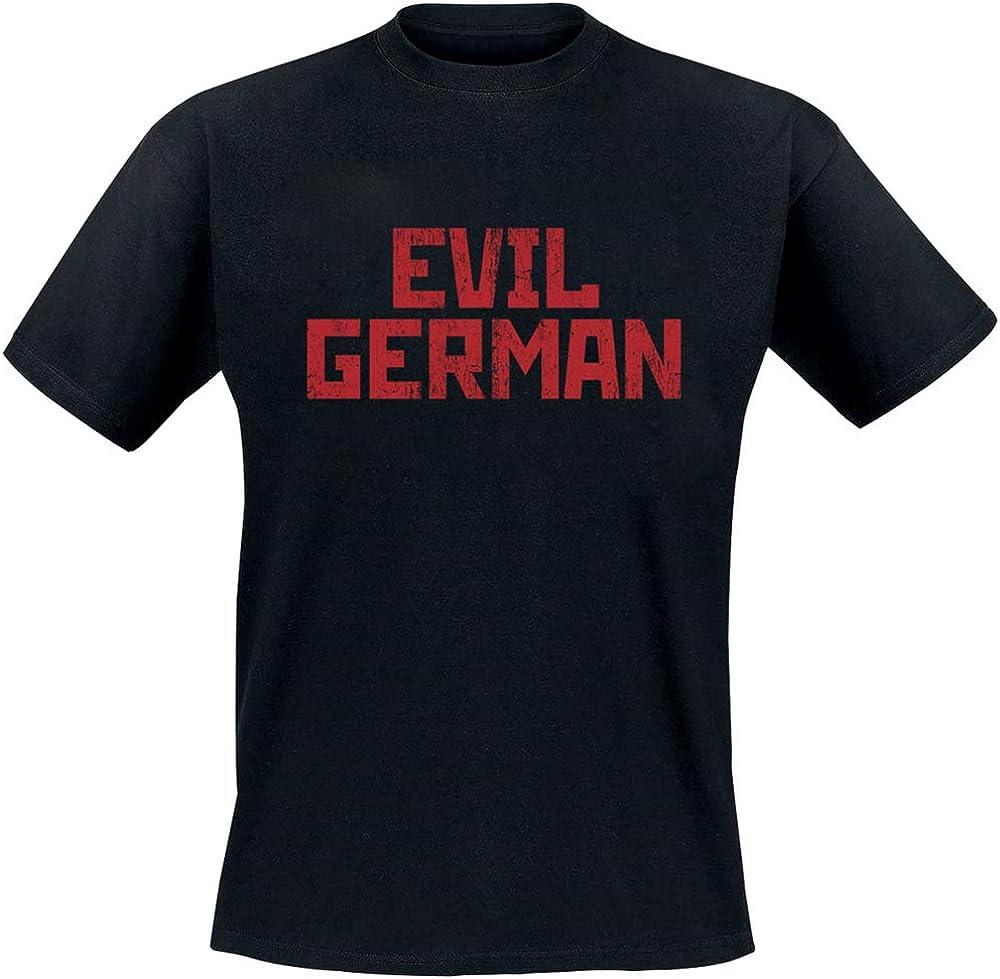 Rammstein Herren T-Shirt Evil German Offizielles Band Merchandise Fan Shirt schwarz mit mehrfarbigem Front und Back Print