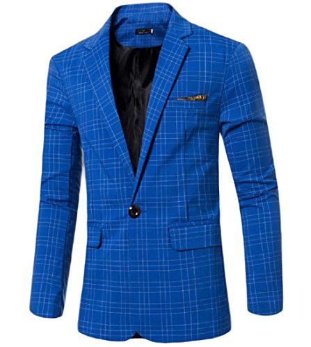 Zimaes Mens Stripe Single Button Classic Fashion Sport Coat Jacket Blue M