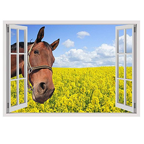 Alonline Art - Horse In The Field Fake 3D Window VINYL STICKER DECAL 34