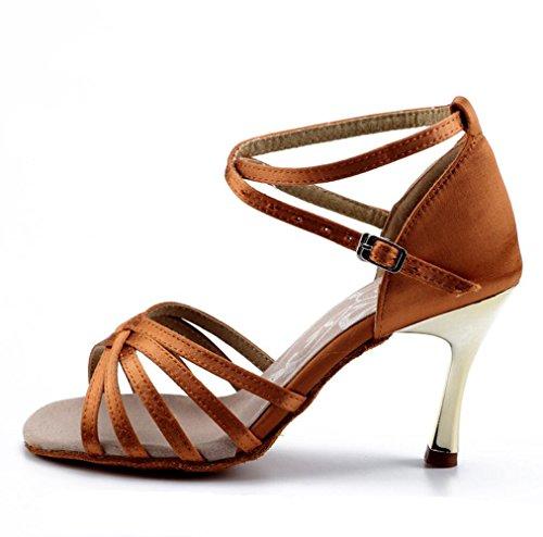 Zapatos De Baile Latino Femenino Inferior De Alta Suave Satén Zapatos De Baile Deep color piel 8.5cm