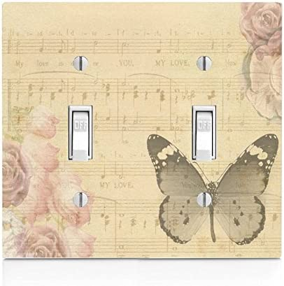 Amazon Com Moonlight Printing Butterfly And Flowers On Sheet Music Double Light Switch Plate Home Kitchen