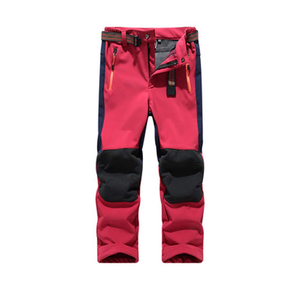Rongt Boy Girl Windproof Warm Fleece Skiing Trousers Waterproof Mountain Hiking Pants