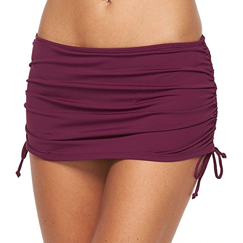 Apt 9 Side Tie Swim Skirtini Bottoms for Women (Small, Mulberry Wine)