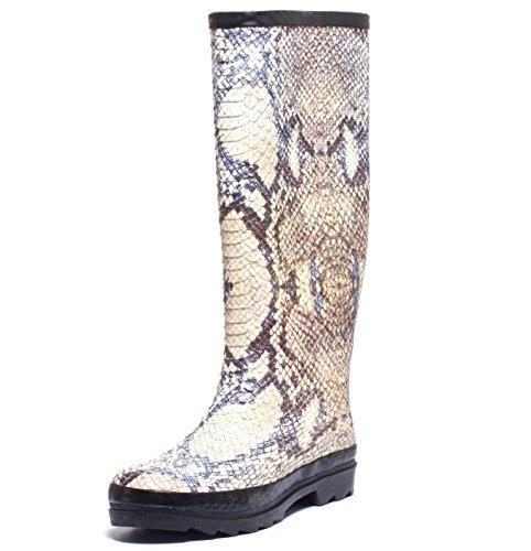 Damen Fashion Regenstiefel Gummistiefel Langschaftstiefel Schlangenprint Snake Optik Stiefel