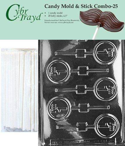 Cybrtrayd 45St25-L023 I'm 1 Lolly Chocolate Candy Mold with 25 Cybrtrayd 4.5
