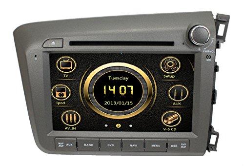 lsqSTAR 8 Inch Car Multimedia GPS System for Honda Civic Right Driving 2012 with DVD+Radio+BT+Ipod+USB+SWC+ATV+GPS+Free Map