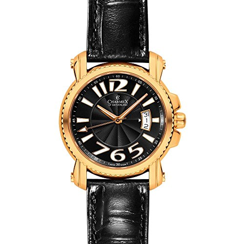 Charmex Berlin 2511 42mm Gold Plated Stainless Steel Case Black Calfskin Synthetic Sapphire Men's Watch