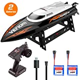 RC High Speed Boat Toys, Remote Control Toys for Adults and Kids, Bonus Battery, High Speed up to 25KM/H, Water cooling system, Self-righting system, RC boat for Pool/Lake/Outdoor, Orange, Gift. (black)