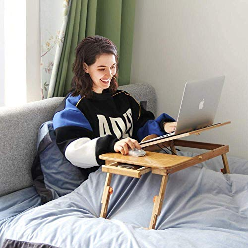 Callas Laptop Bed Tray Multi Tasking Bamboo Lap Desk, Adjustable Bed Table with Tilt Top, Smartphone Tablet Lap Tray for Homework Study Reading Eating Food (Bamboo)