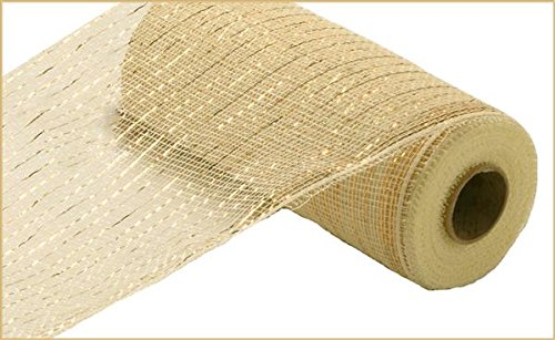(10 inch x 30 feet Deco Poly Mesh Ribbon - Value Mesh (Cream, Gold)