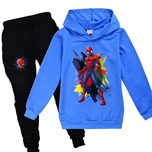 Proxiceen Spiderman jongensshirt met lange mouwen, 2 stuks sweatshirt + broek kostuum capuchontrui, opdruk lange mouwen…