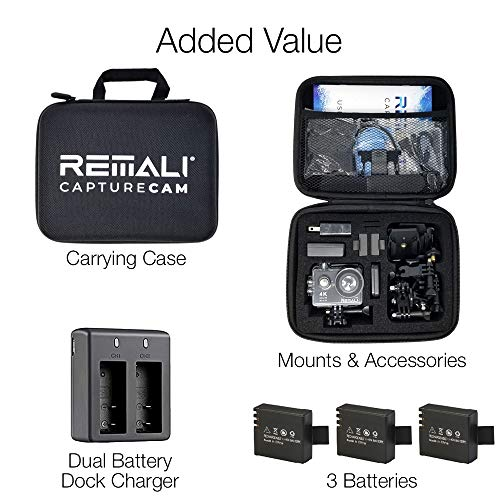 "REMALI CaptureCam 4K Ultra HD and 12MP Waterproof Sports Action Camera Kit with Carrying Case, 3 Batteries, Dual Battery Charger, 2"" LCD Screen, WiFi, Remote Control, and 21 Mounts and Accessories"