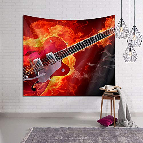 Tidyki Fire Electric Guitar Cool Orange Tapestry Wall Hanging Hippie Blanket Tapestries Home Decorations for Bedroom Living Room Dorm Decor 50x60 Inch