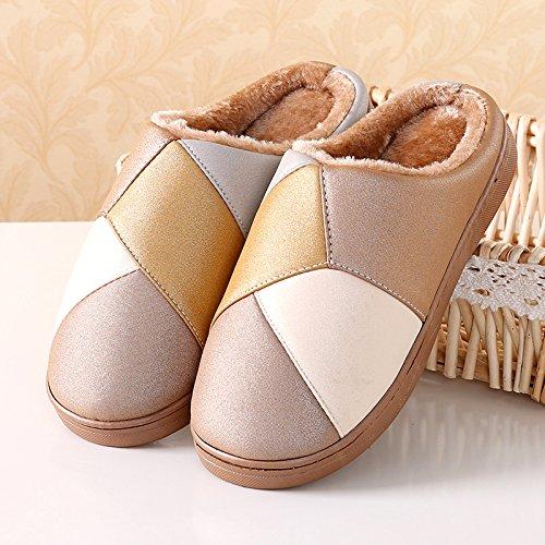 Y-Hui invierno zapatillas de algodón Home Furnishing zapatos de interior zapatillas y un par de Pu de invierno gruesa 6605- Pink