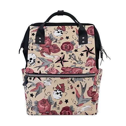 Girly Tattoo Rose Skull Halloween Diaper Bags Large Travel Nappy Nursing Backpack Mommy Bag]()
