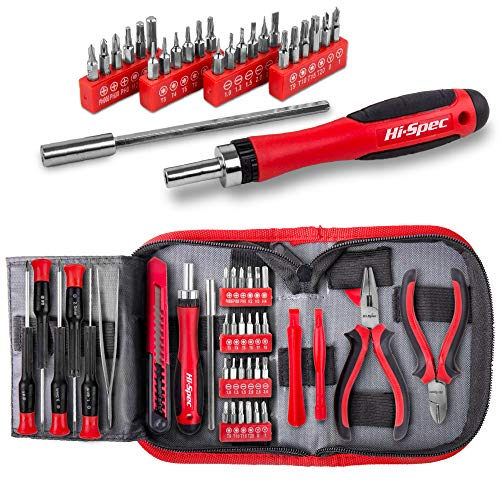 Hi-Spec 38 pcs Electronics Repair Tool Kit - Magnetic Precision Ratcheting Screwdriver & Phillips, Slotted, Torx, Hex and Triwing/Head Bits Set, Lose Nose & Diagonal Pliers, Tweezers Pry Bar in Case