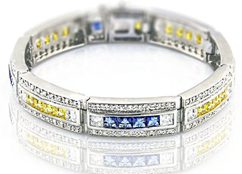 Men's Sterling Silver .925 Original Design Bracelet with 207 Fancy Color and White Cubic Zirconia (CZ) Stones and Box Lock, Platinum Plated 8