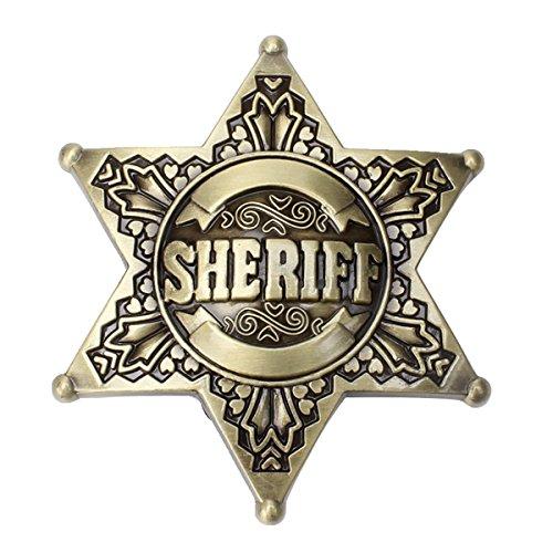 Sheriff Belt Buckle Western Cowboy Native American Motorcyclist (SRF-01-G) (Western Sheriff Belts)