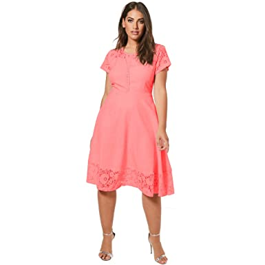 625c3353d402 Women Plus Size Short Sleeve Dress Floral Lace A-Line Casual Party Summer Midi  Dress