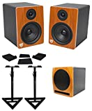 2) Rockville APM6C 6.5'' Powered Studio Monitors+Active 10'' Subwoofer+Stands+Pads