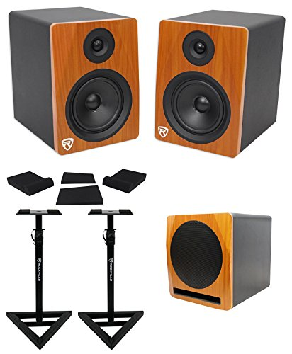 2) Rockville APM6C 6.5'' Powered Studio Monitors+Active 10'' Subwoofer+Stands+Pads by Rockville