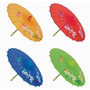 """""""Assortment or six (6) 21″"""" Small Asian Silk Umbrella / Parasol"""""""
