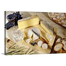 Canvas On Demand Premium Thick-Wrap Canvas Wall Art Print entitled Cheeses on cutting board