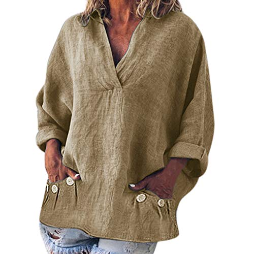 (Linen V-Neck Pocket Blouses, QIQIU Womens Fashion Plus Size Solid Casual Long Sleeve Daily T-Shirt Tops Khaki)