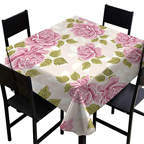 Warm Family Elegance Engineered Tablecloth Seamless Wallpaper Pattern with Roses Indoor Outdoor Camping Picnic W63 x ()