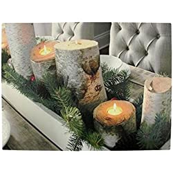 "Northlight LED Lighted Flickering Rustic Lodge Woodland Birch Candles Christmas Canvas Wall Art 11.75"" x 15.75"""