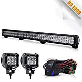TURBOSII 39' Led Light Bar Led Work Light 252W Spot Flood Combo Beam Offroad Light Daytime Runing Light with 4' Led Cue Pods & Wirng Harness Kit For Jeep Tractor Boat Off-Road SUV ATV Truck