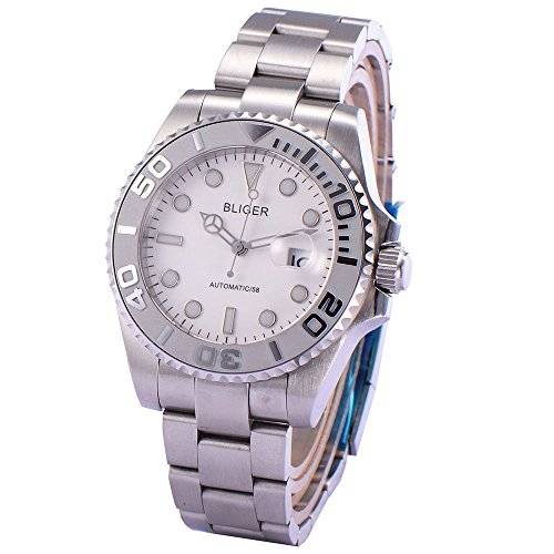(Bliger 43mm Sapphire Glass White Dial Date Mechanical Automatic Mens Wristwatch 1888)