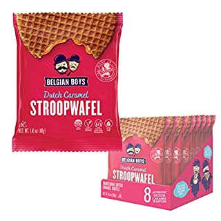 Dutch Caramel Stroopwafel 8 Pack by Belgian Boys | Authentic Waffle Cookies | Individually Wrapped | No Preservatives | Non-GMO (8)