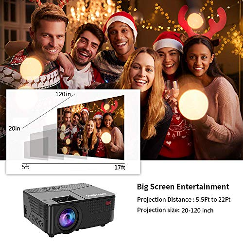 """OHDERII Projector, 1080p Supported Maximum 120"""" Display, Compatible with HDMI, VGA and USB for Gaming, Movies, Ultra Quiet Long Lasting 30,000 Hour Operating Life"""