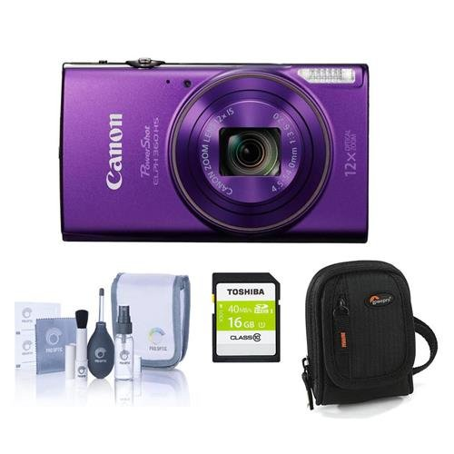 Canon PowerShot ELPH 360 HS 20.2MP Digital Camera, Purple - Bundle with Camera Case, 16GB Class 10 SDHC Card, Cleaning Kit