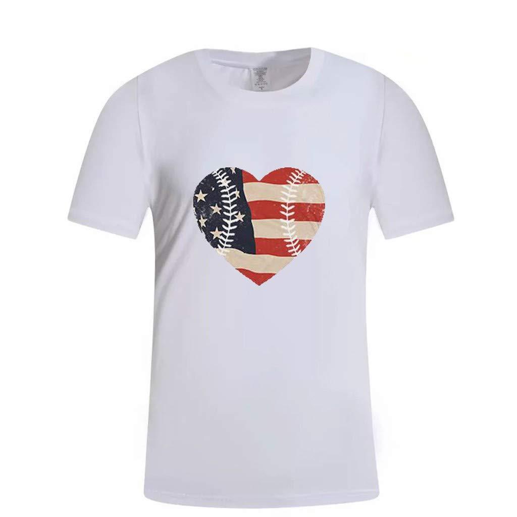 Jianekolaa Unisex Creative Heart Print Short Sleeve Patriotic T-Shirt Casual Graphic Tee White