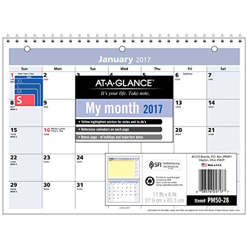 "AT-A-GLANCE Monthly Desk / Wall Calendar 2017, QuickNotes, 11 x 8"", Wirebound (PM50-28)"