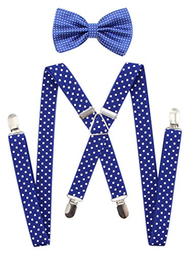 (JAIFEI Men's X Back Suspenders & Bowtie Set - Perfect For Weddings & Formal Events (Dots-royal)