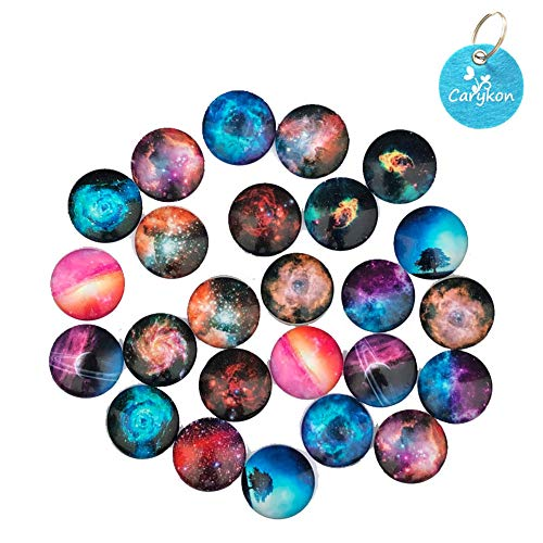 Carykon 25 PCS Glass Dome Cabochons Half Round Flat Backed Cartoon, 25mm Diameter, Random Color (Starry Sky) ()